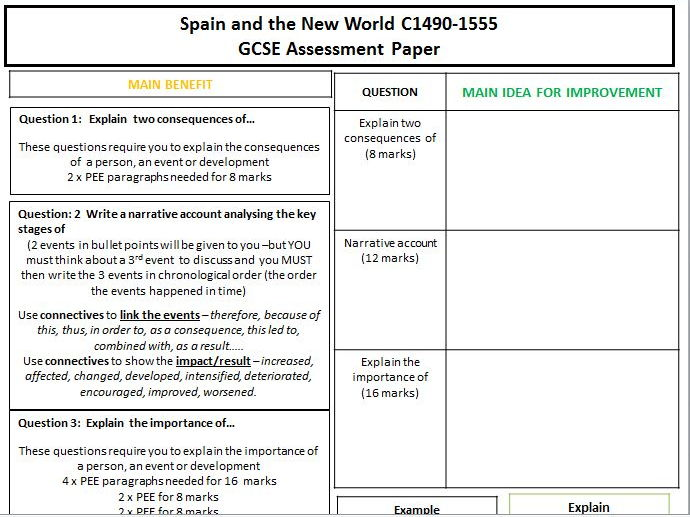 Edexcel GCSE History 1-9 Assessment Cover marking sheet for Spain and the New World 1490-1555