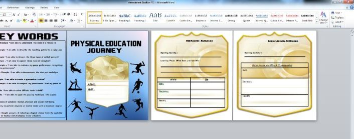 PE ASSESSMENT BOOKLET - KS3 AFL & SUMMATIVE