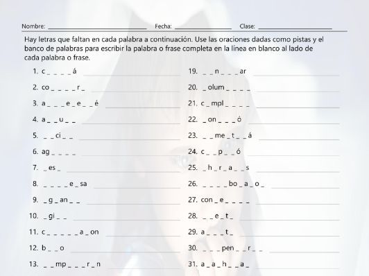 verbs start a b c end ar 2 missing letters spanish worksheet by eslfungames teaching resources. Black Bedroom Furniture Sets. Home Design Ideas