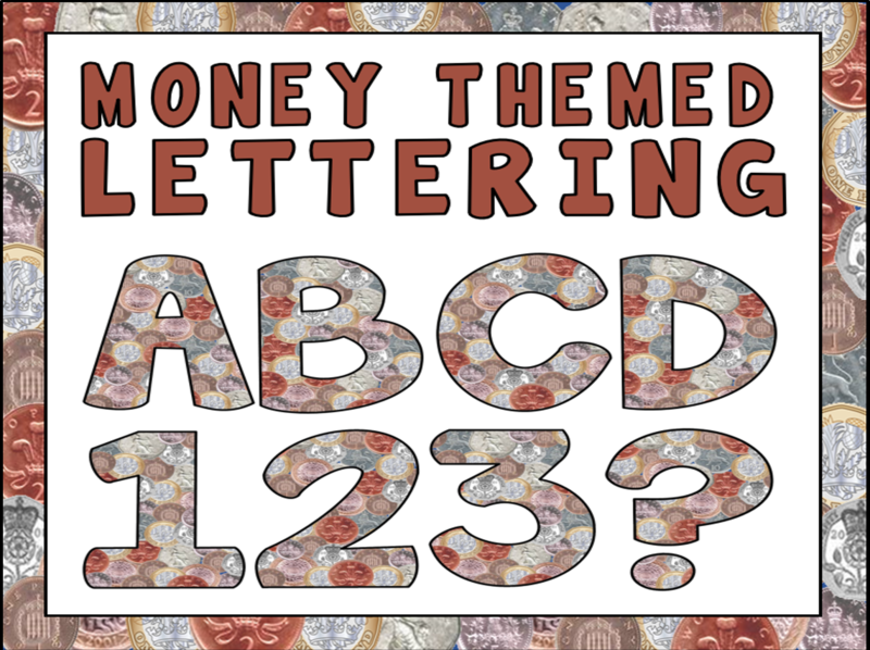 MONEY THEMED LETTERS NUMBERS TEACHING RESOURCES NUMERACY MATHS DISPLAY