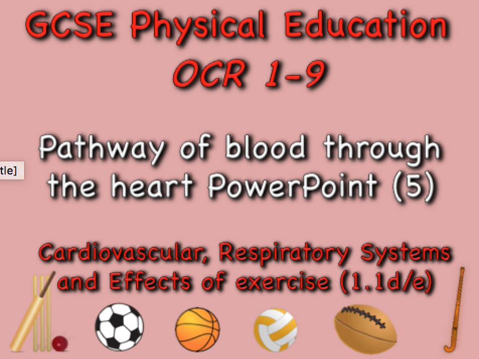 GCSE OCR PE (1.1d/e) - Pathway of blood through the heart PowerPoint