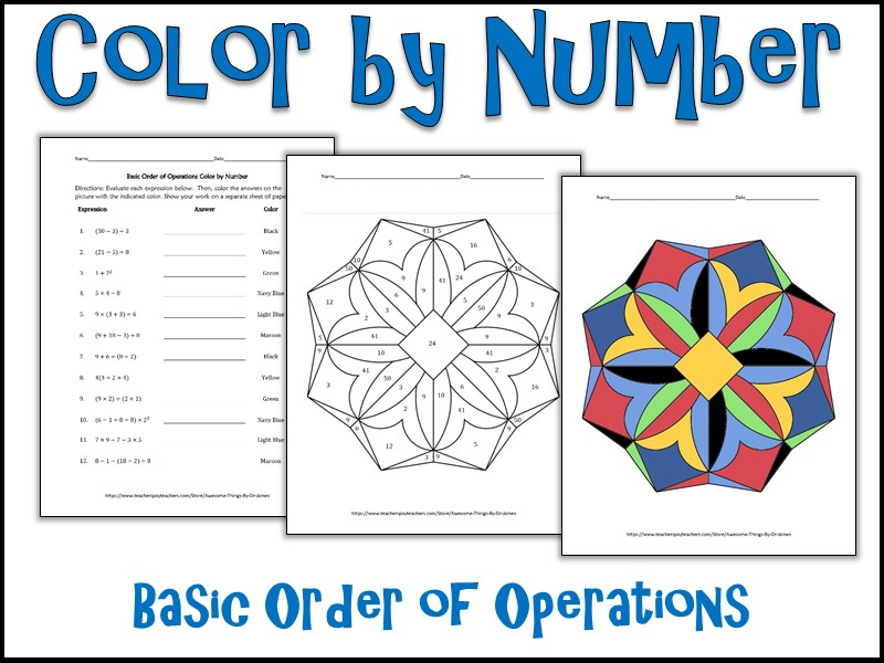 Basic Order Of Operations Color By Number By Charlotte_James615