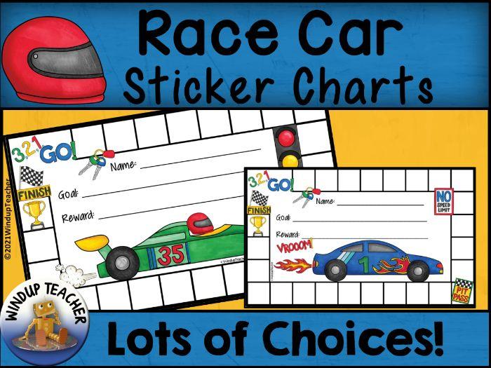 Race Car Sticker Charts
