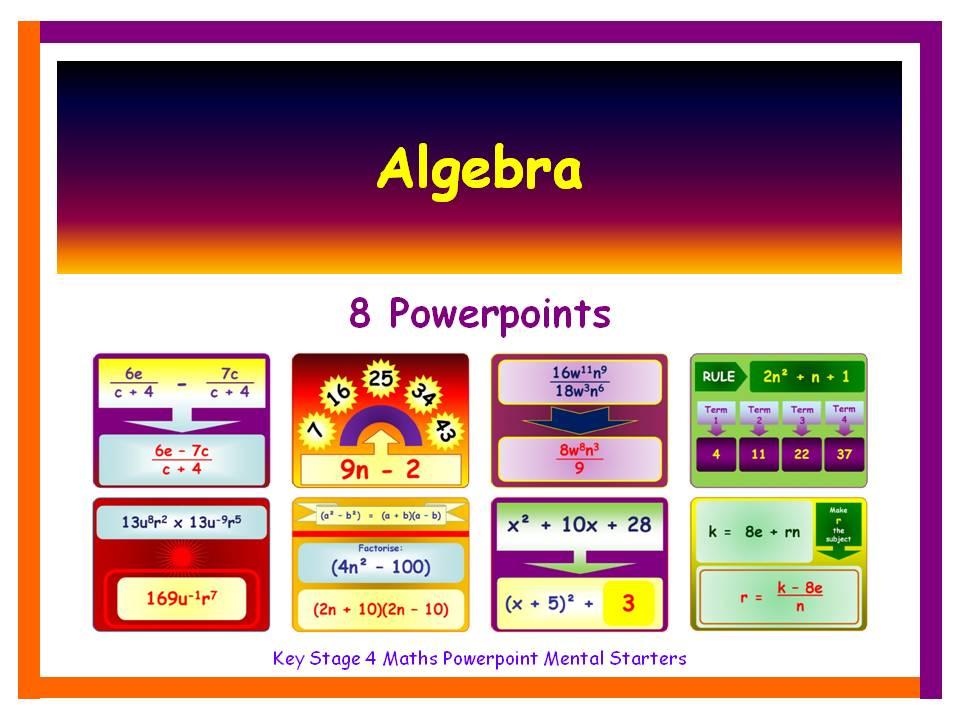 KS4 Maths Mental Starters:  Algebra