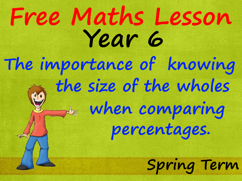 FREE Year 6 Maths Lesson The importance of  knowing the size of the wholes when comparing percentage