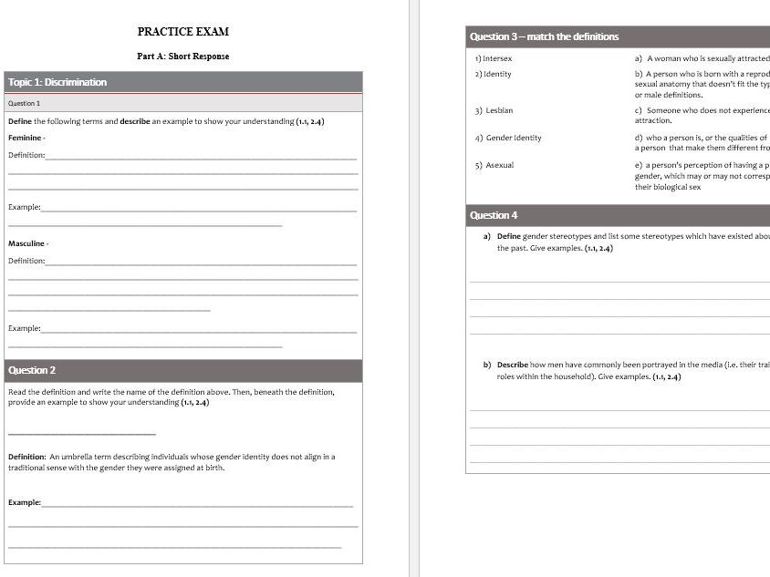 Differentiated QCIA practice exam - Social and Community Studies - Gender and Identity Unit