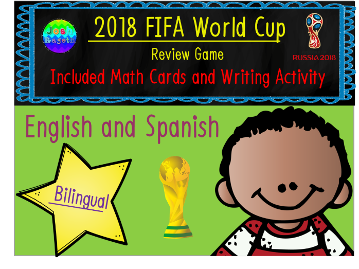 FIFA World Cup Revision Game and Writing Activity Bilingual English Spanish
