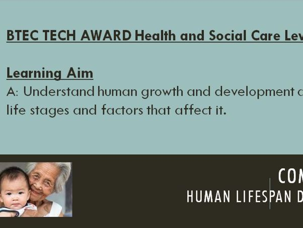 BTEC Health & Social Care TECH Component 1 Learning Aim A