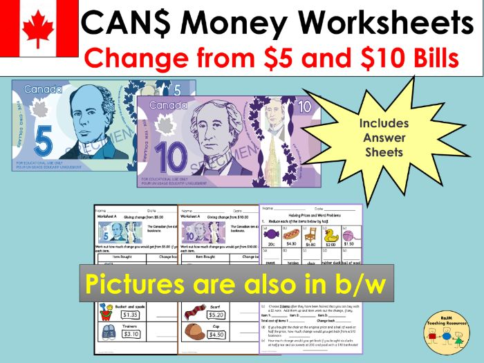 Canadian Money Worksheets Giving Change and Word Problems