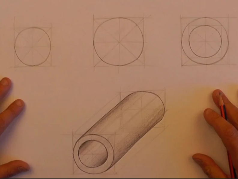 Sketching  circles and oblique cylinders