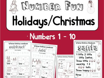Winter Holiday / Christmas Season Number Fun! Count, Add, Subtract, Write 1 - 10