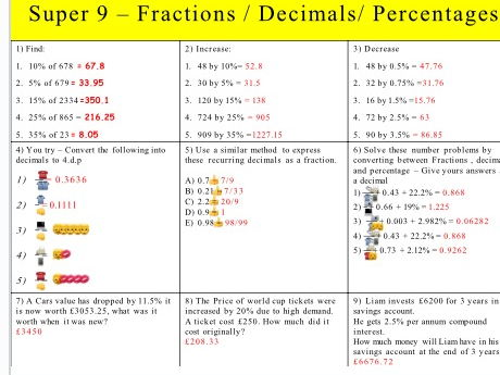 Super 9 revision ( percentages, fractions and algebra)
