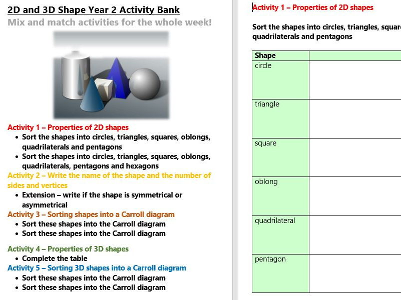 2D and 3D Shape Year 2 Activity Bank (Differentiated)