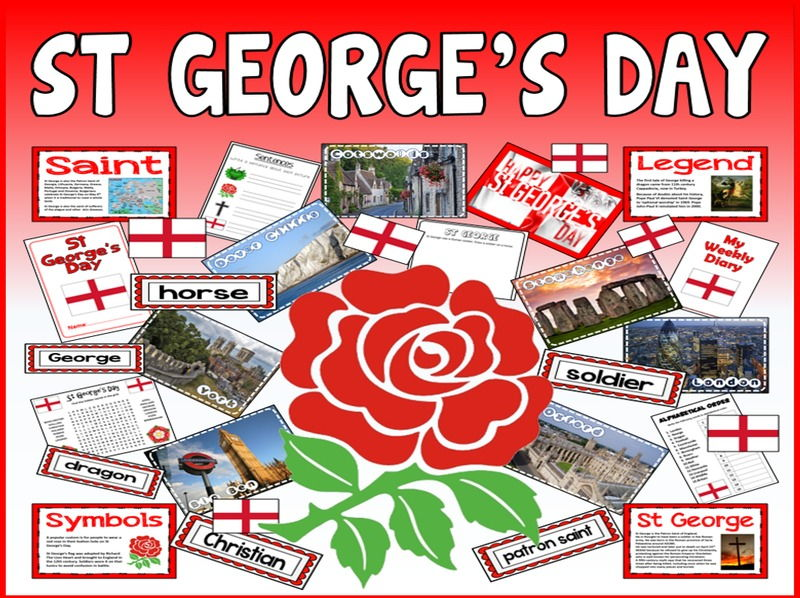 ST GEORGE'S DAY TEACHING RESOURCES KS1-2 CELEBRATION TRADITIONS ENGLAND
