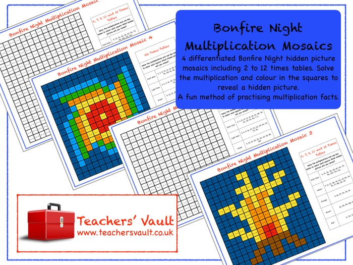 Bonfire Night Multiplication Mosaics