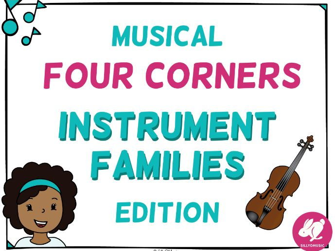 Musical Four Corners, Instrument Families Game - NOW WITH INSTRUMENT SOUNDS!