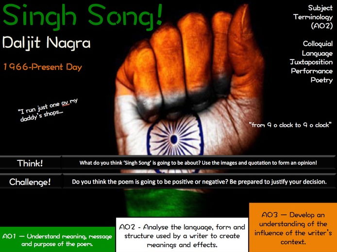 Singh Song! - Daljit Nagra - AQA Poetry - Love and Relationships