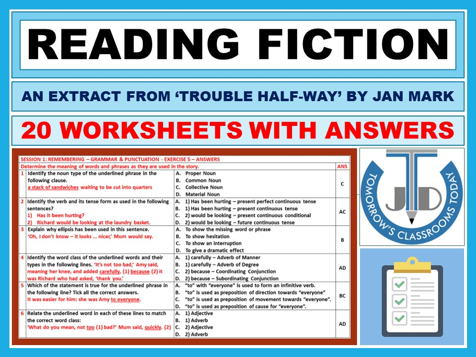 READING FICTION: WORKSHEETS WITH ANSWERS - 20 EXERCISES