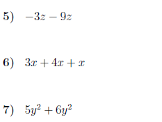 Adding monomials worksheet (with solutions)