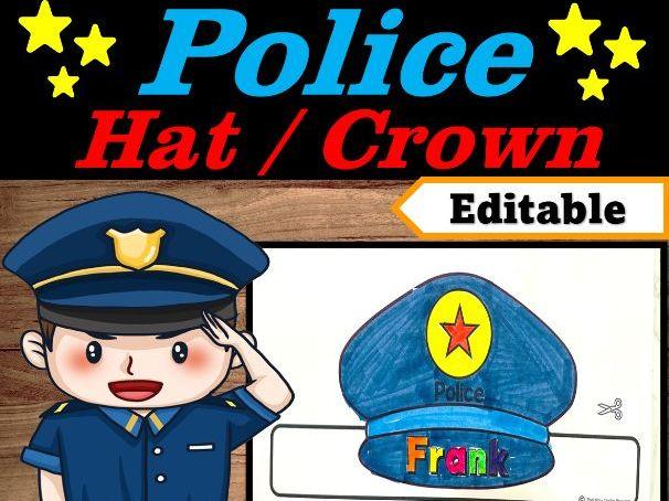 Police Officer Hat Editable Name | Community Helpers Week Craft | Police man hat