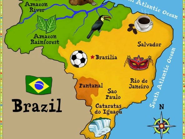 Brazil - Set of three  A4 Display Posters / comprehension texts for Y5/6