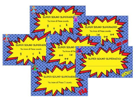 Superhero Comic Phonics Certificates (Letters and Sounds groupings - short f, straight k font)