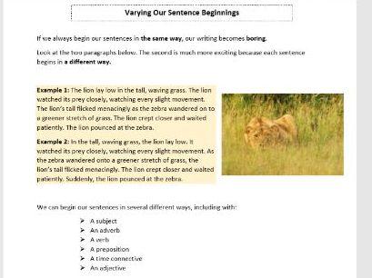 Varying Sentence Beginnings Worksheet for KS3 and KS4