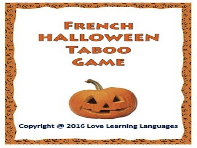 French Halloween Taboo Game - Halloween Français