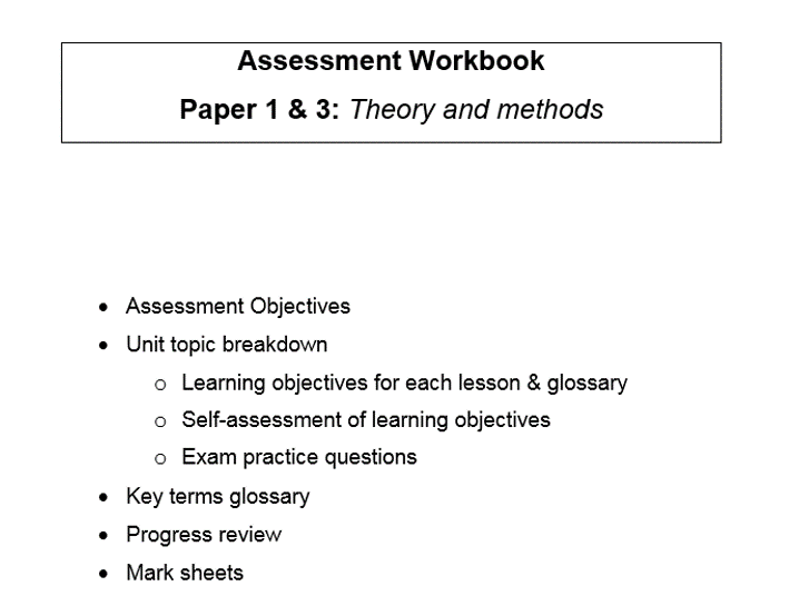 Complete workbook for the new A Level Sociology specification, for PAPER 1 AND 3 THEORY AND METHODS