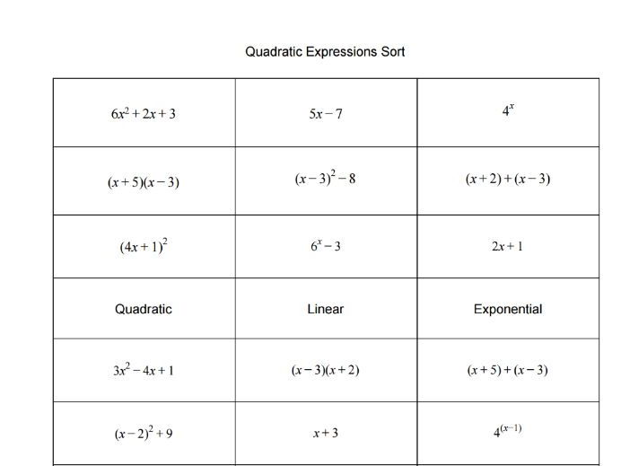Quadratic, Exponential and Linear Expressions Sort Activity