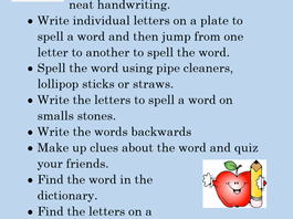 Spelling ideas for all ages