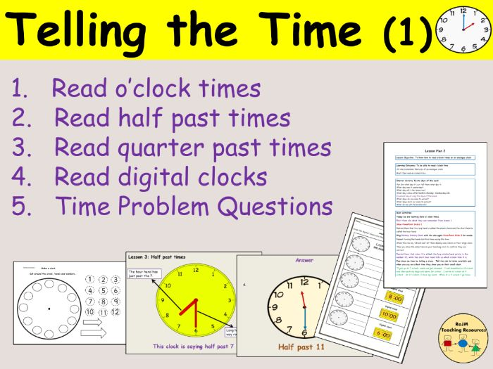 Telling the time (analogue/digital) - 12 hr clock, Presentations, Lesson Plans and Worksheets Pack 1