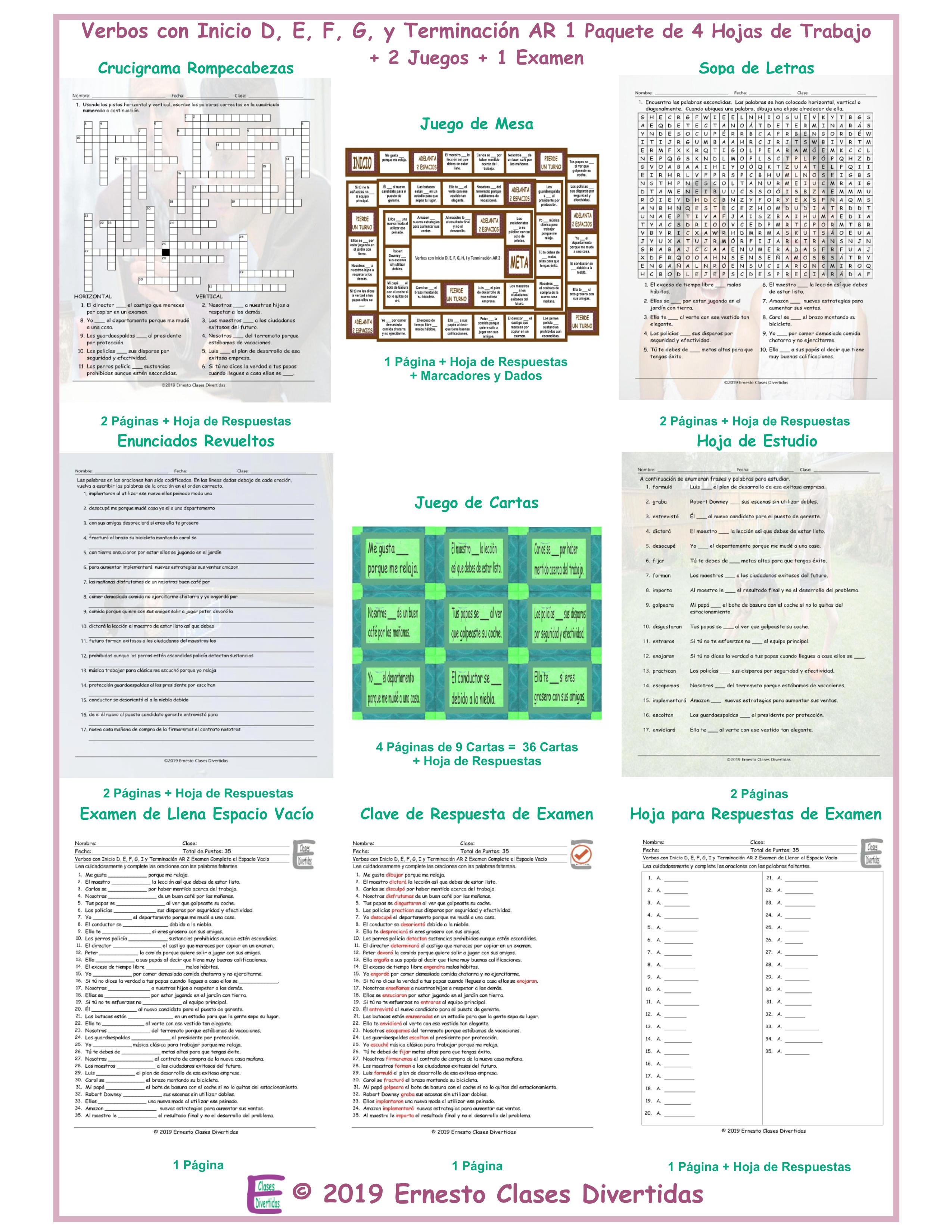 Verbs Start D, E, F, G, H, I End AR 2 Spanish 4 Worksheet-2 Game-1 Exam  Bundle