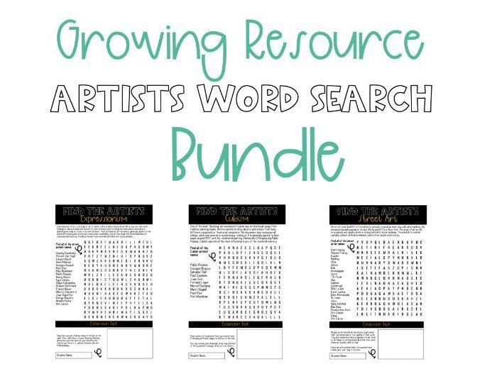 Artist Word Search Bundle- Growing Resource