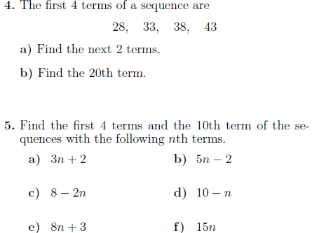 Sequences worksheets (with solutions)