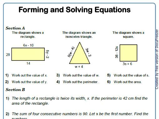 Forming and Solving Equations 9-1 GCSE Maths Worksheet