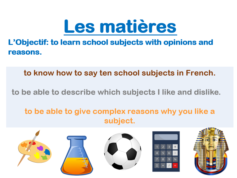Les matières / French school subjects lesson