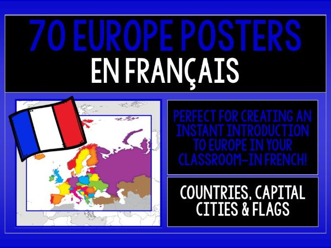 FRENCH - EUROPE 72 POSTERS PACK - COUNTRIES, CAPITAL CITIES & FLAGS