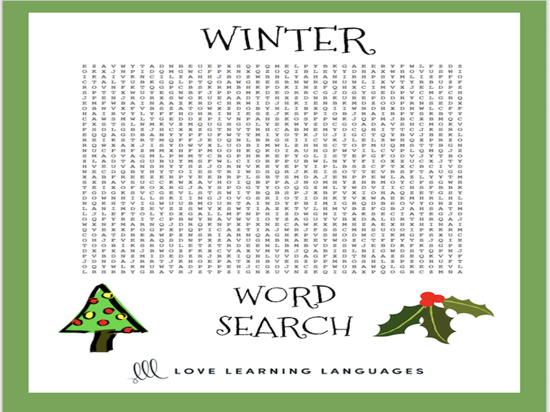 ESL-ELL Winter Vocabulary Word Search By Jenniferlcrespin