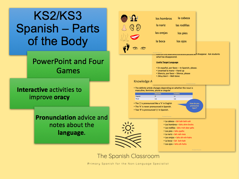 KS2/KS3 Spanish Parts of the Body - Las Partes del Cuerpo - Vocabulary and Games