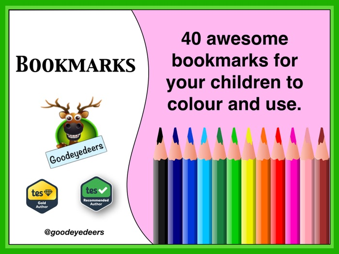 Bookmarks  - 40 Bookmarks To Colour