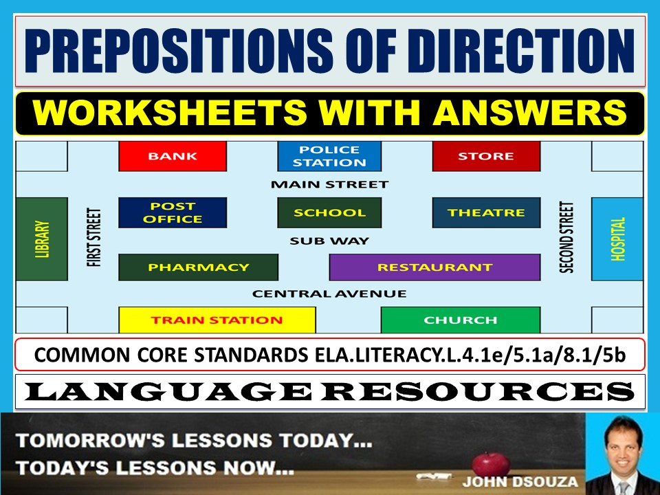 PREPOSITIONS OF DIRECTION WORKSHEETS WITH ANSWERS