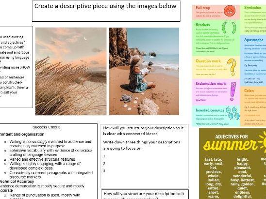 Creative Writing Planning Sheets/ Descriptive Writing