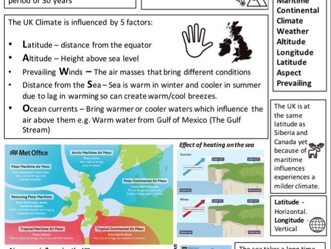 UK Climate Factors Revision Sheet - GCSE Eduqas B