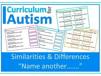 Similarities & Differences Categories Vocabulary Worksheets, Autism, SEND, Speech