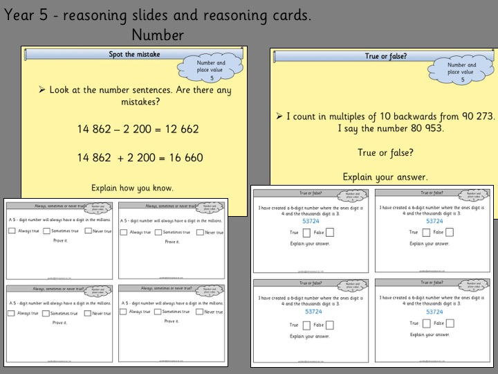 Reasoning Slides and Cards- Year 5- Number and Place Value
