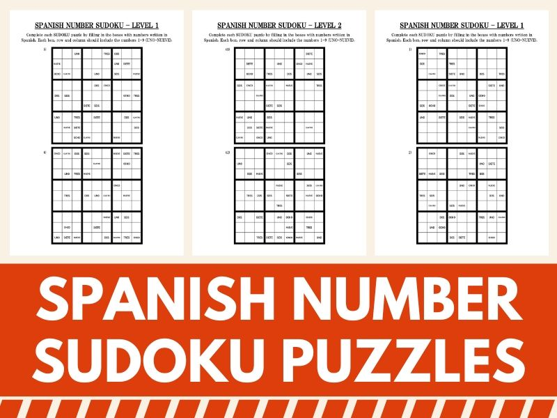 60 Spanish Number Sudoku Puzzles - Fun Activity for Spanish Classes
