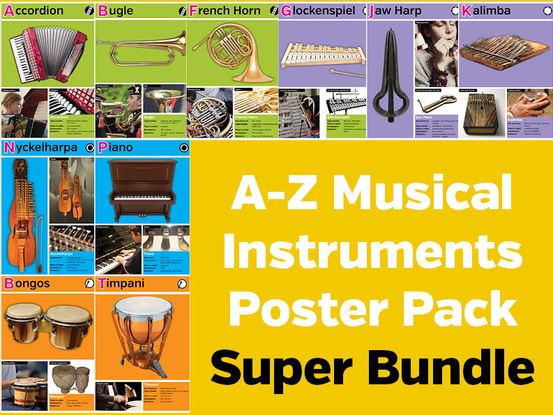 A-Z Musical Instruments Poster Pack Bundle
