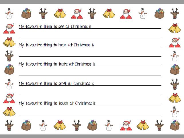 Christmas Senses Sheet