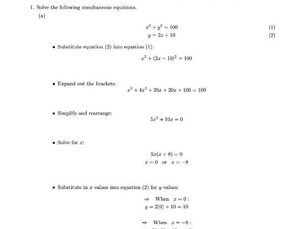 Quadratic Simultaneous Equations Worksheet (with answers)